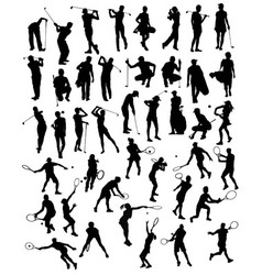 Silhouettes of sporting activities tennis vector