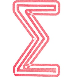 Abstract sigma sum symbol made with red marker vector