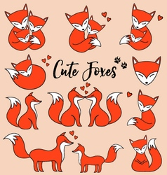 Cute foxes set vector