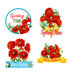 Icons of flowers and spring time quotes vector