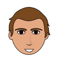 Color image cartoon front face guy with hairstyle vector