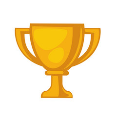 Golden trophy cup isolated on white close up vector
