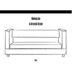 Sofa with straight back in the contour on a white vector