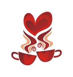 Caps tea coffee love heart romantic menu vector image