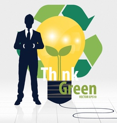 Think green eco concept light bulb with tree and vector