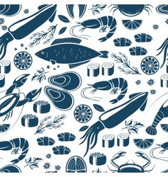 Fish sushi and seafood seamless background vector