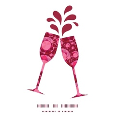 Ruby toasting wine glasses silhouettes vector