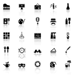Art activity icons with reflect on white vector