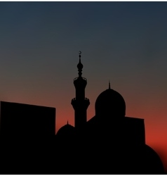 After sunset mosque landscape with beautiful vector