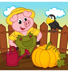 Pig farmer vector