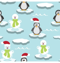 Penguin and snowman on ice floe vector