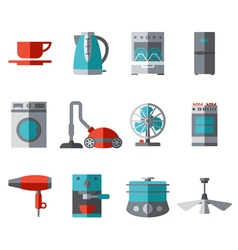 Domestic equipment colored icons with half shadow vector