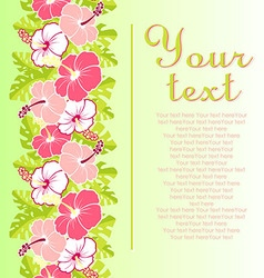 Card with with hibiscus flowers and Monstera vector image