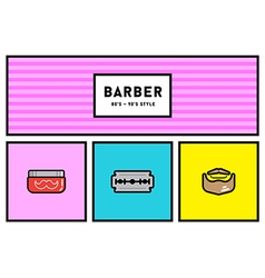 80s or 90s stylish icon set with retro colours vector
