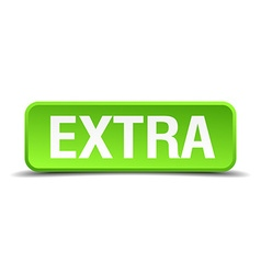 Extra green 3d realistic square isolated button vector