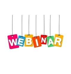 Colorful hanging cardboard tags - webinar vector