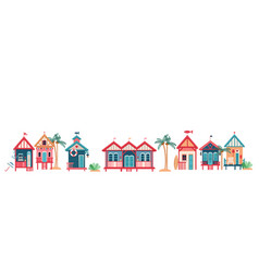 Background with multi-colored beach huts vector
