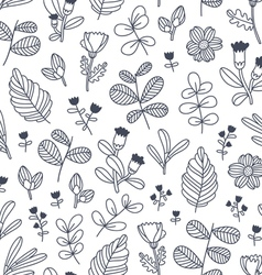 Black and white decorative floral seamless pattern vector image vector image