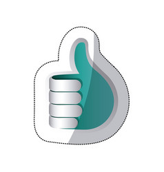 Blue hand making the good sign icon vector