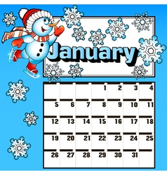 calendar for January snowman skates vector image