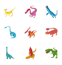 Carnivorous dinosaurs icons set cartoon style vector
