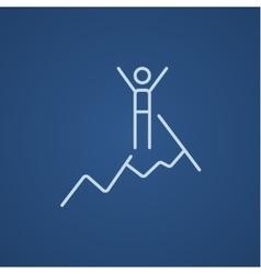 Climbing line icon vector
