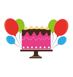 Colorful cake and balloons party birthday vector
