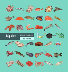 colorful sketch natural seafood collection vector image