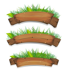 comic wood banners with plants leaves vector image vector image