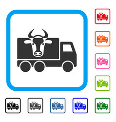 cow transportation framed icon vector image
