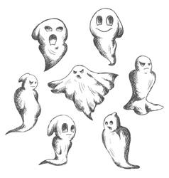 Eerie and danger halloween ghosts vector