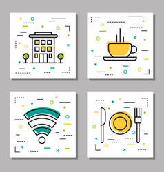 Four hotel service linear icons vector