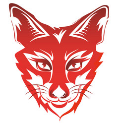Fox head tattoo brand red isolated on white vector