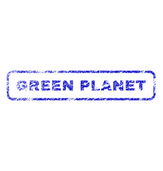Green planet rubber stamp vector