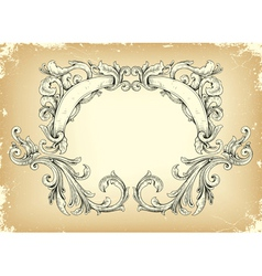 Grunge frame with floral vector