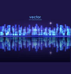 illuminated night city skyline vector image vector image