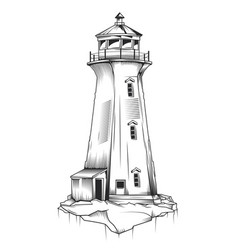 isolated of old lighthouse vector image vector image