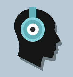 Man witch headphones in flat style with shadow vector