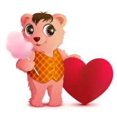pink fun bear holds sweet cotton wool and heart vector image