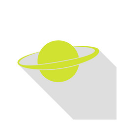 Planet in space sign pear icon with flat style vector