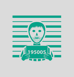prisoner in front of wall with scale icon vector image vector image