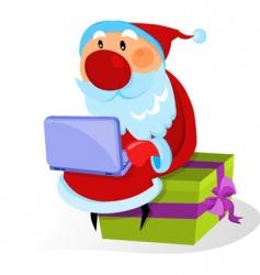 santa with a bag and gifts vector image