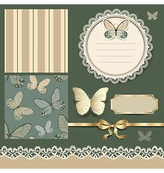 Scrap retro butterfly vector image vector image