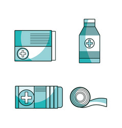 Set first aid tools to help people vector