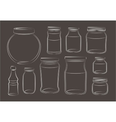 Set of empty jars vector image