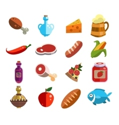 Set of Food Icons in Flat Design vector image