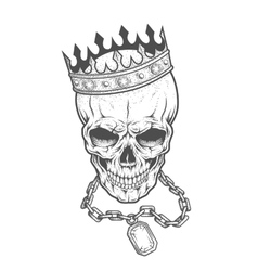 Skull with crown and chain vector image