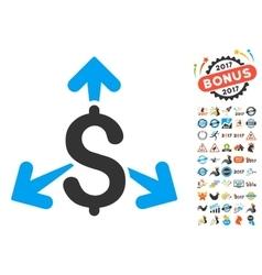 Spend money icon with 2017 year bonus symbols vector