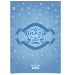 Winter frosty new year retro greeting card vector image