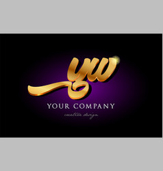 yw y w 3d gold golden alphabet letter metal logo vector image
